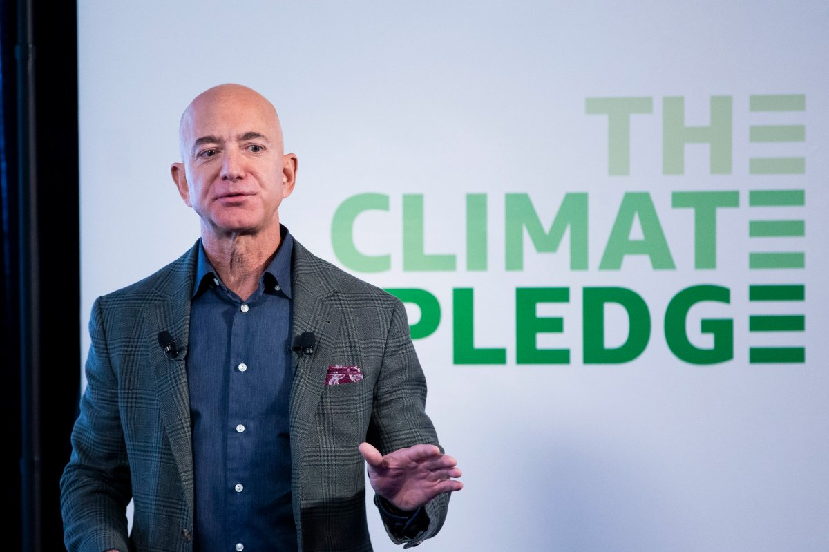 Founder and CEO of Amazon Jeff Bezos participates in the unveiling of an Amazon environmental initiative entitled 'The Climate Pledge', in Washington, DC, USA, 19 September 2019.
