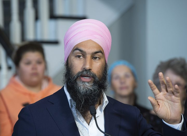 NDP Leader Jagmeet Singh makes a healthcare announcement during a campaign stop in Bathurst, N.B. on Monday, Sept. 23, 2019.