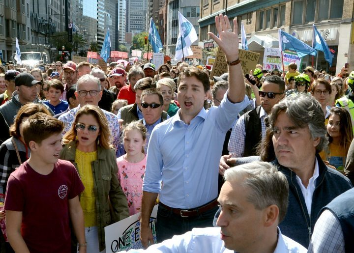 Liberal Leader Justin Trudeau takes part in the Climate Strike, in Montreal on Friday, Sept. 27, 2019.