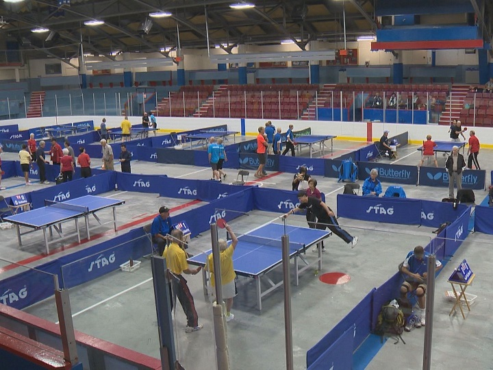 Organizers for the 55-plus B.C. Games are expecting approximately 4,000 people for the five-day event in the Central Okanagan. Here, table tennis gets underway on Wednesday at Memorial Arena in Kelowna.