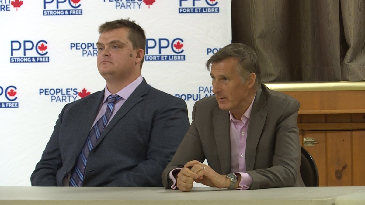 """During the rally, Maxime Bernier told Global News, """"We must not fear the fact that the climate is changing, but there's no emergency crisis.""""."""
