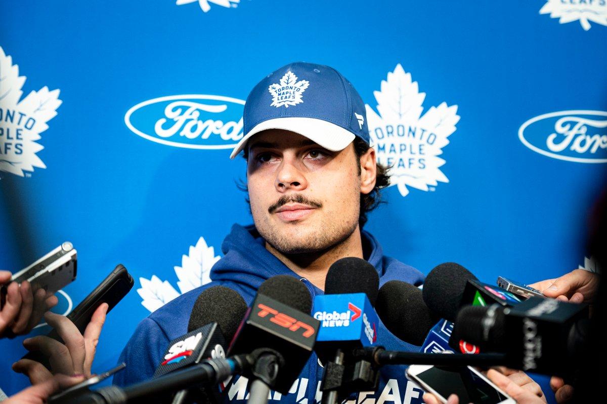 Toronto Maple Leafs centre Auston Matthews speaks to media in Toronto, on Thursday, September 12, 2019.