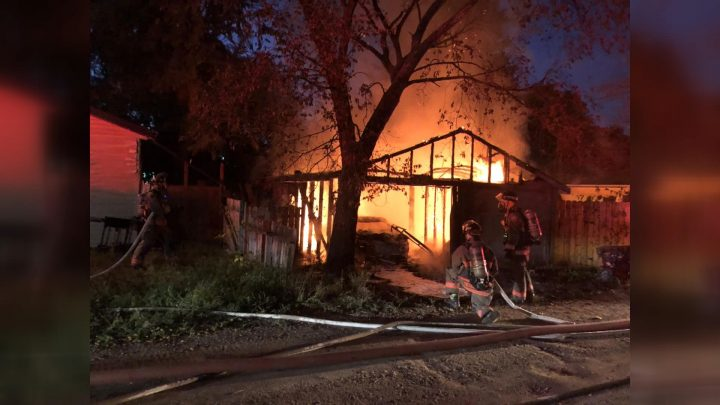 Saskatoon firefighters said they could see smoke and flames in the area as they responded to the 911 call in the Mayfair neighbourhood on Sept. 16, 2019.