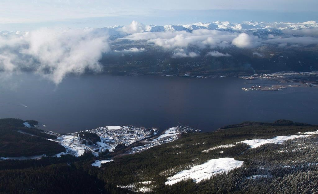 The Haisla First Nation's Kitimaat Village is seen in an aerial view along the Douglas Channel near Kitimat, B.C., on January 10, 2012.