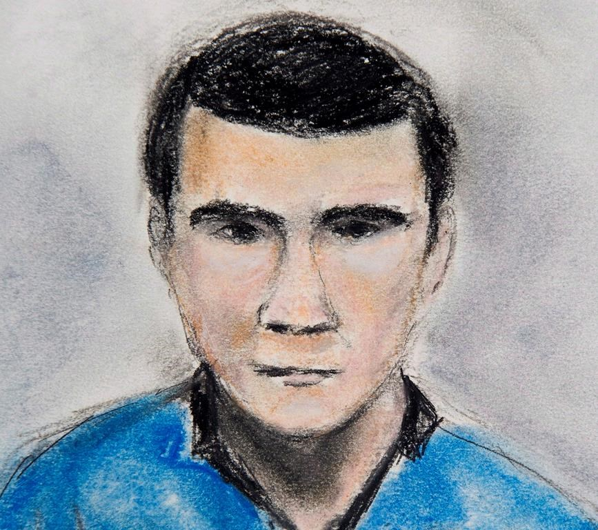 Matthew de Grood appears in a Calgary court on Tuesday April 22, 2014 in this courtroom sketch.