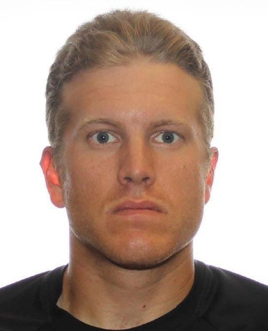 Patrik Mathews is shown in this undated police handout photo. His vehicle was found abandoned Monday on a rural property near Piney, in southern Manitoba near the United States border.