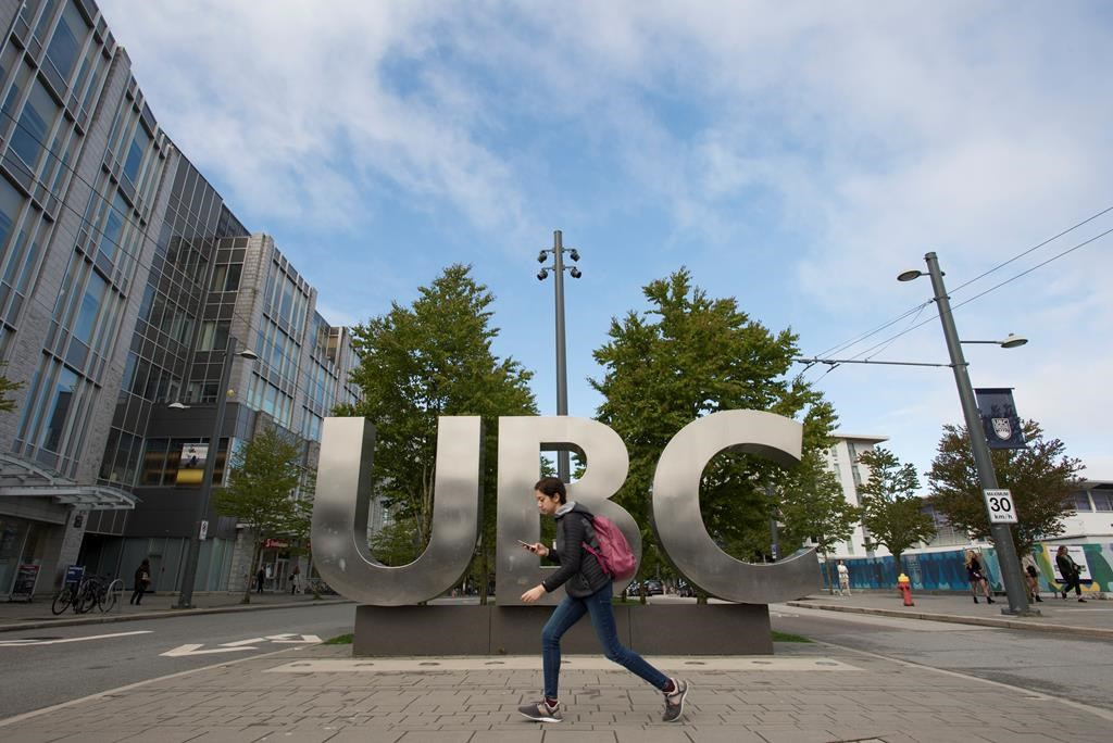 The UBC sign is pictured at the University of British Columbia in Vancouver, Tuesday, Apr 23, 2019. A nationwide get-out-the-vote campaigns targeting post-secondary students launches today to maintain gains in turnout at the polls among the nation's youngest voters. THE CANADIAN PRESS/Jonathan Hayward.