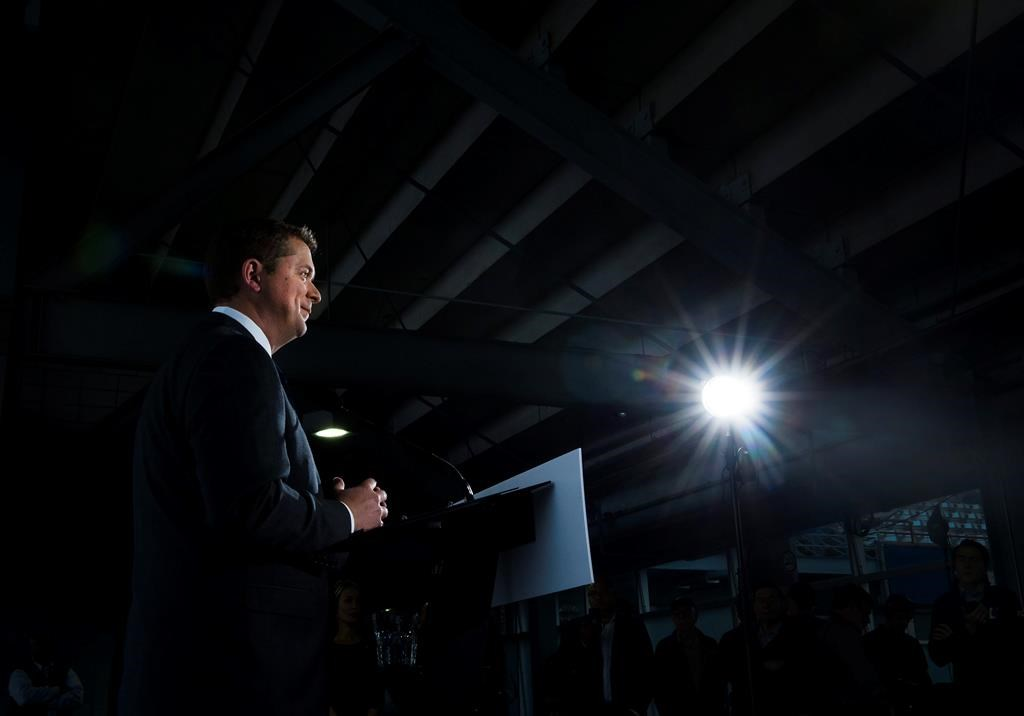 Federal Conservative leader Andrew Scheer makes a announcement at a campaign stop in Montreal on Thursday, September 26, 2019. Scheer is standing by his vow to resume making partisan, patronage appointments to the Senate should the Conservatives form government after Oct. 21.