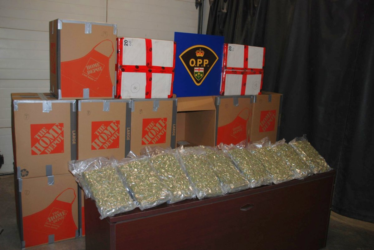 Northumberland OPP say officers seized nearly $2 million worth of cannabis during a traffic stop in Cobourg on Saturday.