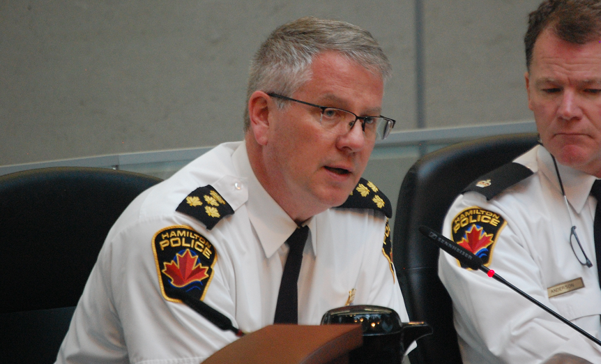 Hamilton Police Chief Eric Girt speaks at a police services board meeting.