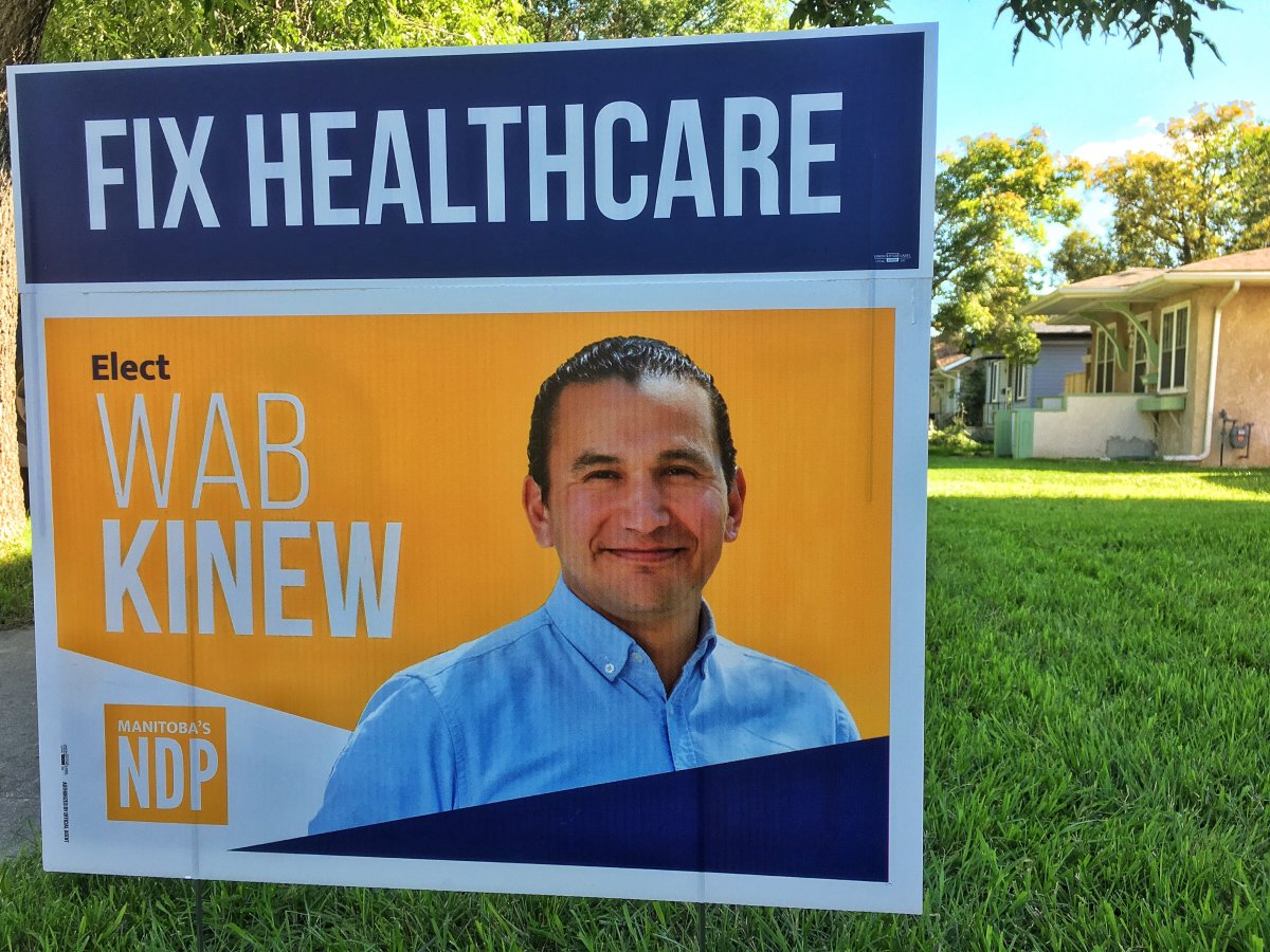 Manitoba NDP put up new lawn signs with a message about healthcare in the final days of the election campaign.