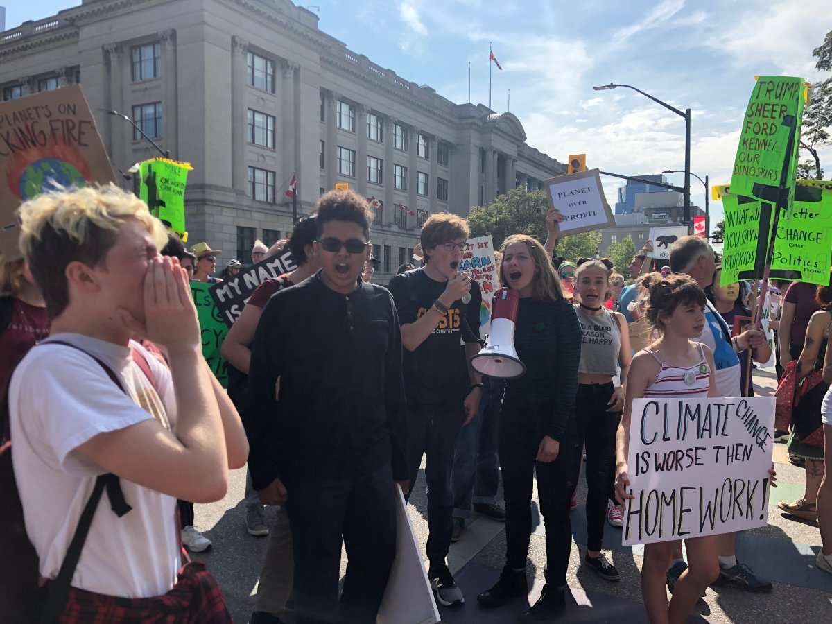 Roughly 300 youth and other Londoners gathered outside city hall to participate in the international climate strikes.