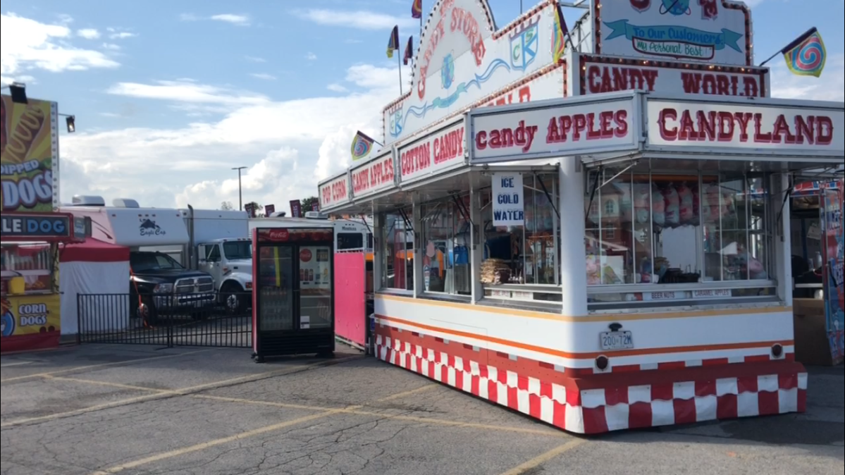 Candy World food booth at the 2019 Western Fair in London.