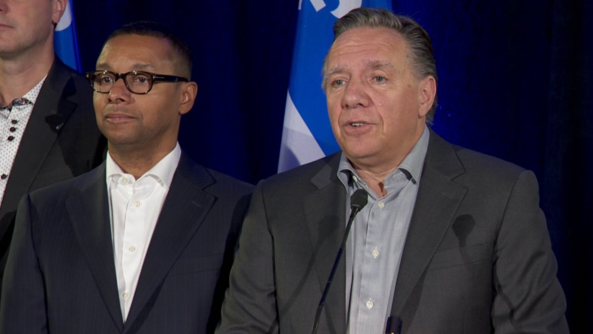 Quebec Premier François Legault speaks to media before a two-day pre-session caucus in  Rivière-du-Loup Thursday, September 12, 2019.