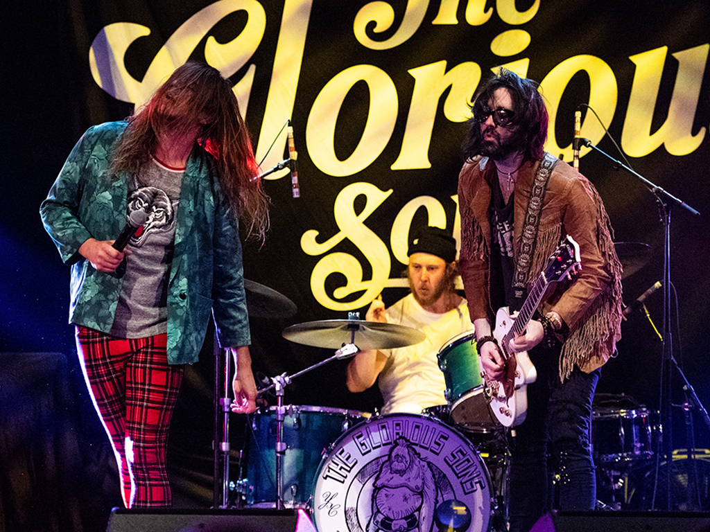 (L-R) Brett Emmons, Adam Paquette and Chris Koster of The Glorious Sons perform at The Wiltern on July 2, 2019 in Los Angeles, Calif.