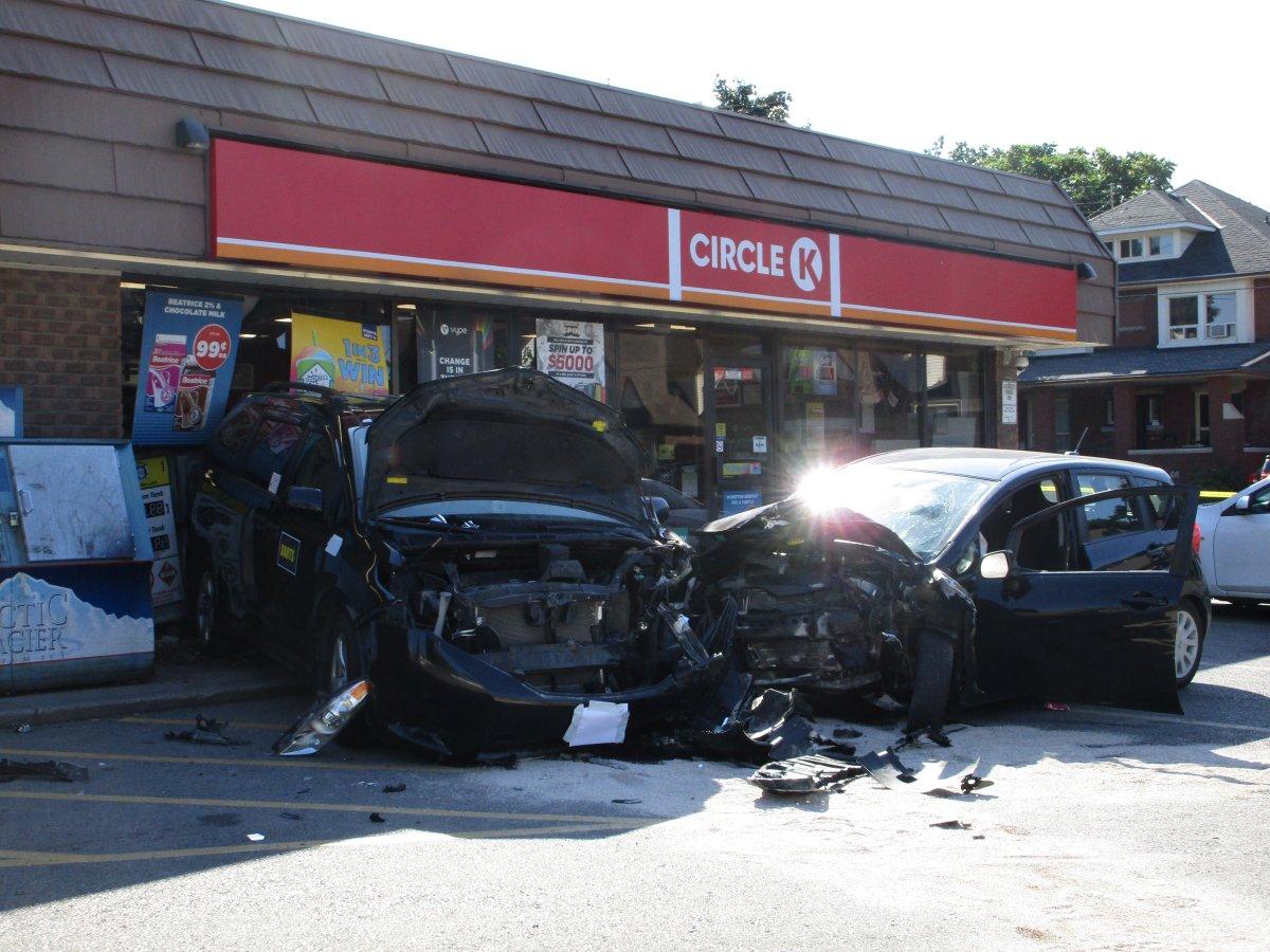 Hamilton police are investigating a crash on King Street at Ottawa.