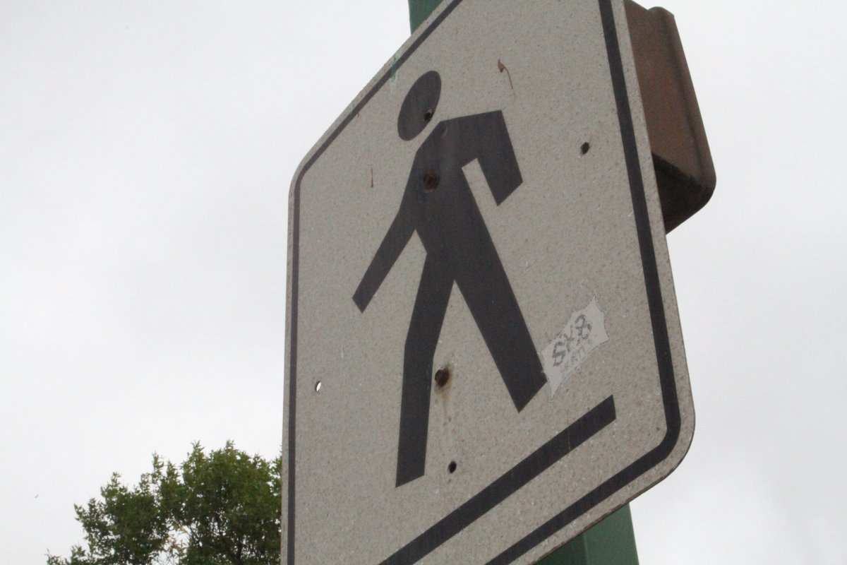A crosswalk sign is shown in this file photo.