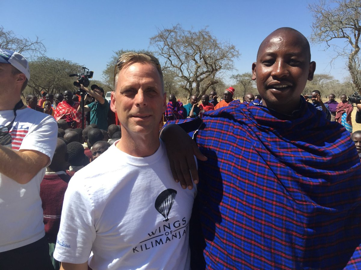 Justin Kyllo wears a Wings of Kilimanjaro shirt while posing for pictures in Tanzania in September 2016. Kyllo was killed in a paragliding accident from the summit of Mount Kilimanjaro on Sept. 28, 2019.