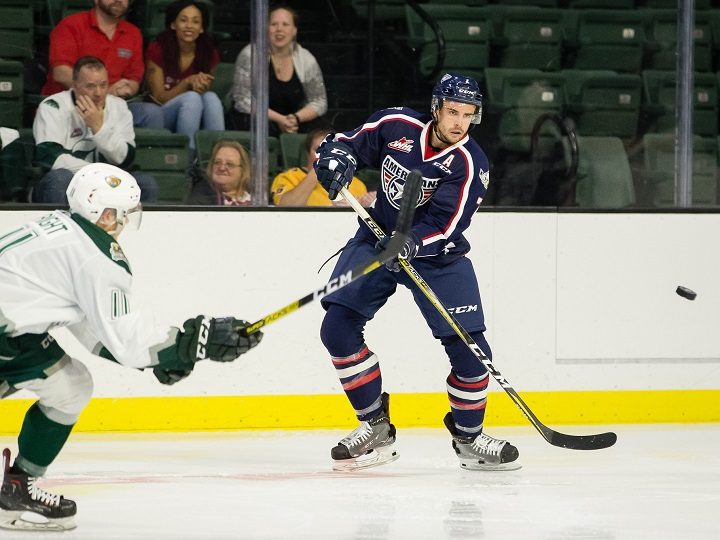 The Kelowna Rockets acquired defenceman Carson Sass, right, from the Tri-City Americans on Wednesday. The Rockets say Sass is veteran player who will add depth to the team's roster.