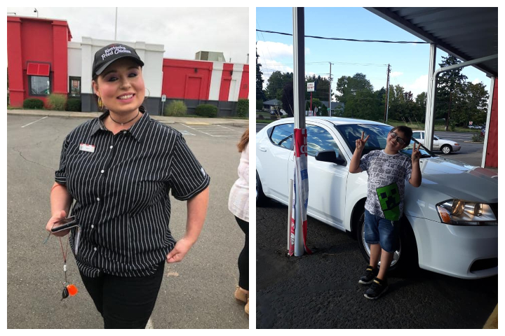 Crystal Lachance, left, received a new car from KFC. Her son, Rhys, is pictured with the car on the right.