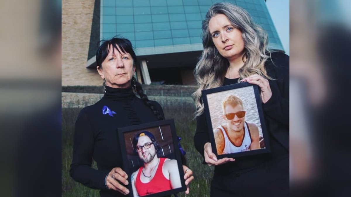 (L to R) Arlene Last-Kolb and Rebecca Rummery holding pictures of their loved ones who both lost their lives to a fatal drug overdose. The women founded the organization Overdose Awareness Manitoba.