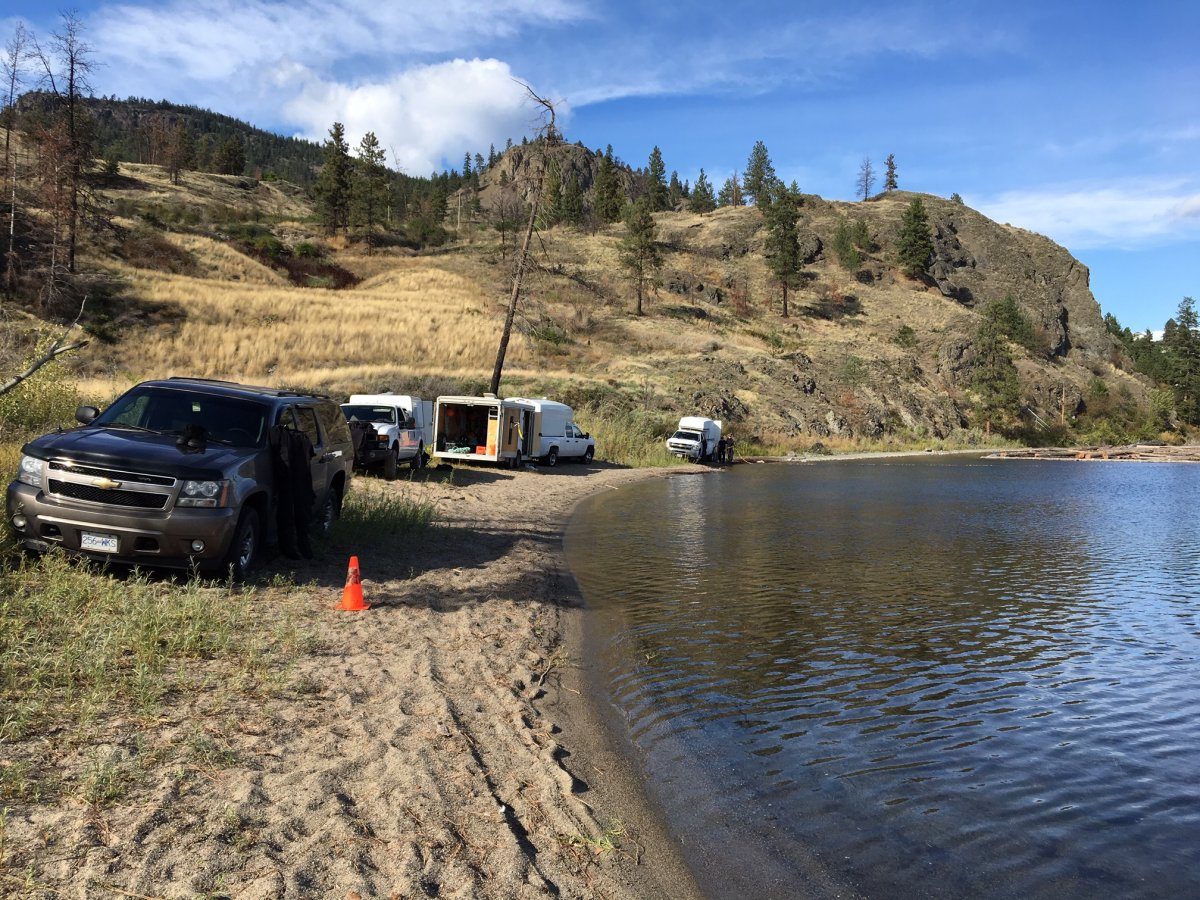 Police scour Okanagan Lake off of Westside Road near West Kelowna Tuesday looking for evidence connected to a police incident there on Sept. 13.
