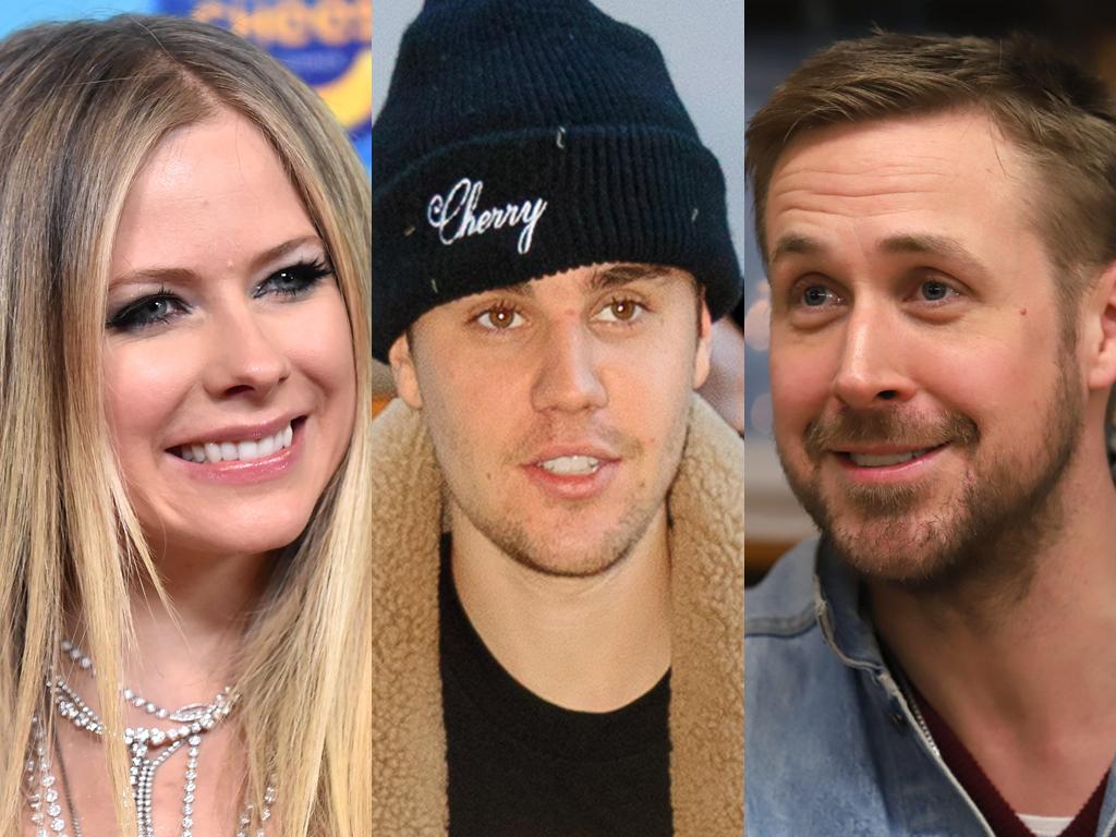 (L-R) Avril Lavigne, Justin Bieber and Ryan Gosling.
