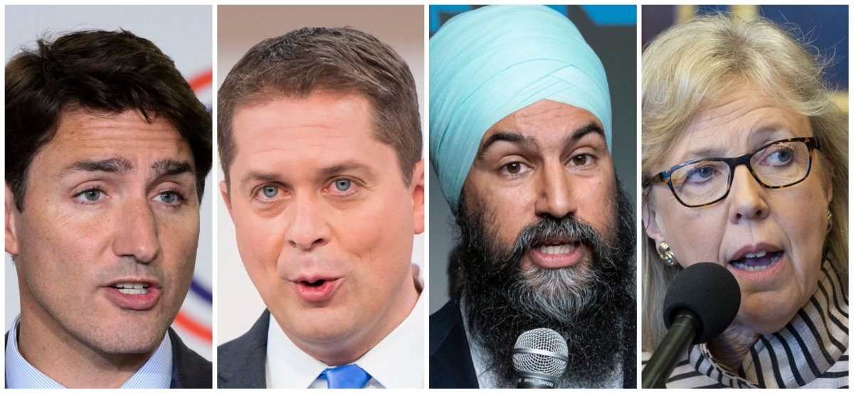 Liberal Leader Justin Trudeau, Conservative Leader Andrew Scheer, NDP Leader Jagmeet Singh and Green Leader Elizabeth May.
