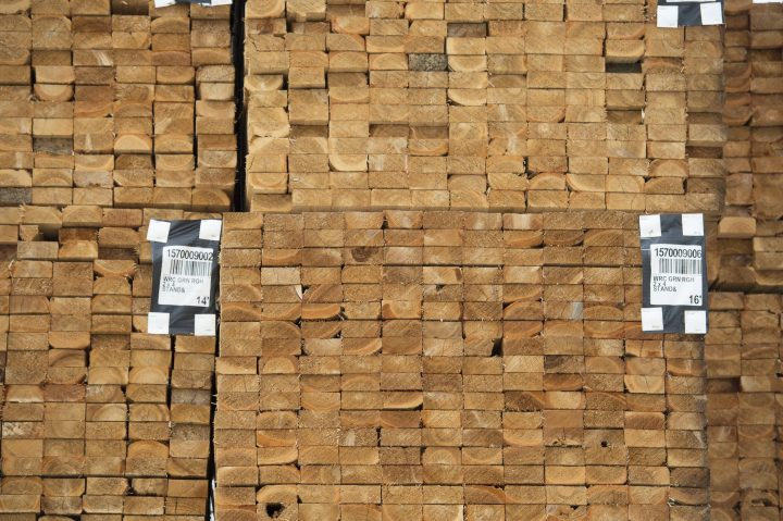 Fresh cut lumber is pictured stacked at a mill in Maple Ridge, B.C.