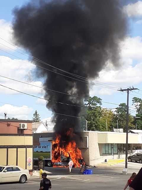 A fire destroyed the cab of a tractor trailer parked outside Foodland in Madoc, Ont., on Tuesday afternoon.