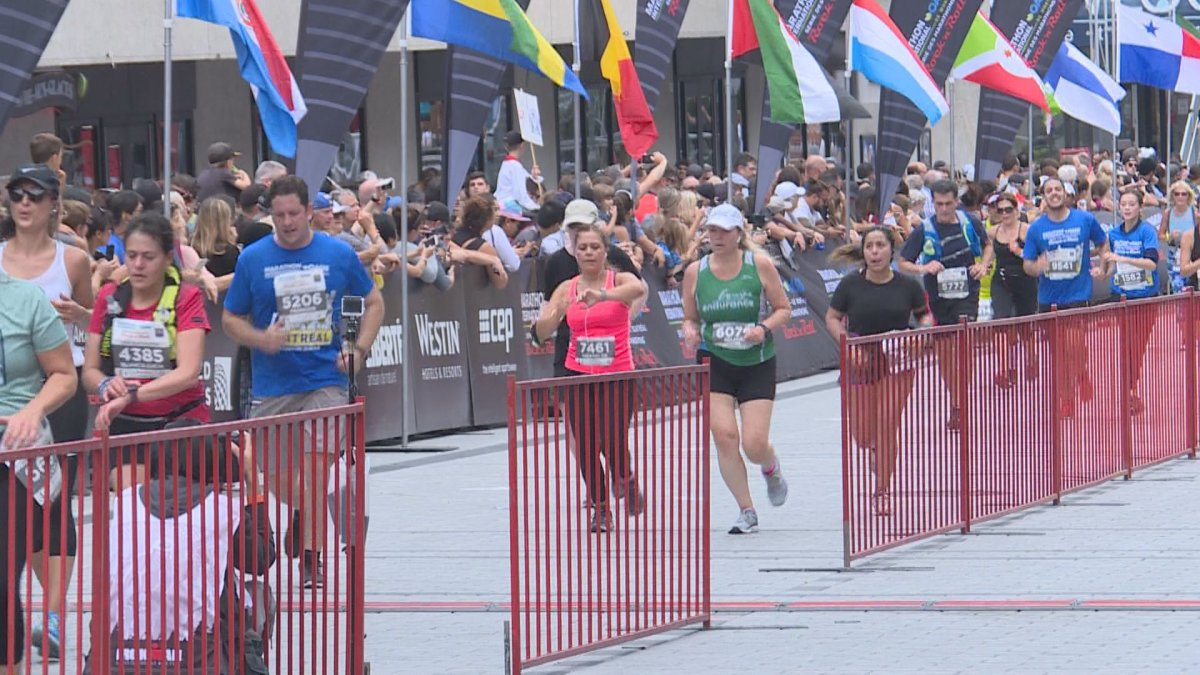 Runners compete in the 2019 Montreal marathon.