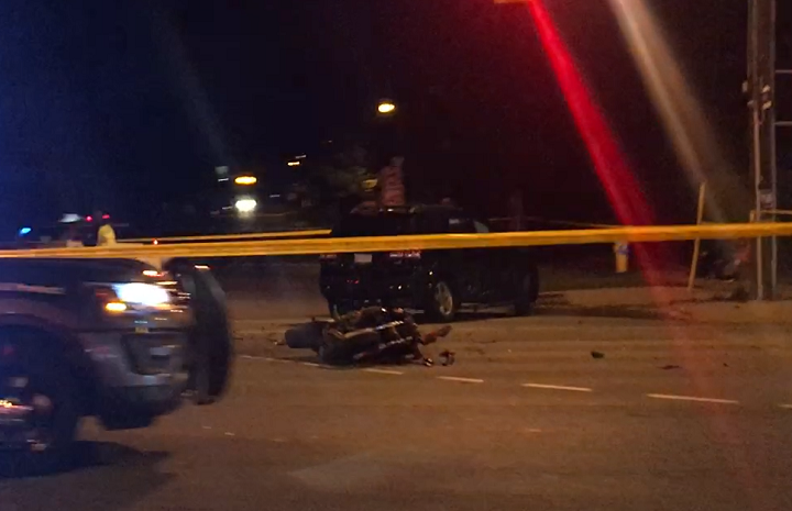 The scene of a fatal motorcycle crash in North York early Saturday.