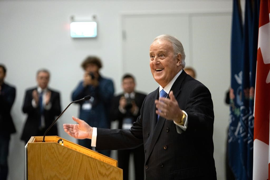 Former Prime Minister Brian Mulroney takes part in a ceremony to officially open the Brian Mulroney Institute of Government at St. Francis Xavier University in Antigonish, N.S., on Wednesday, Sept. 18, 2019.