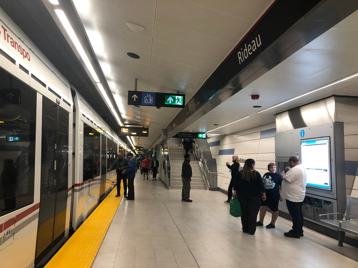 The platform at Rideau Station, one of three underground stations in the Confederation Line's 2.5-kilometre tunnel. The LRT system opened to riders on Saturday, Sept. 14, 2019.