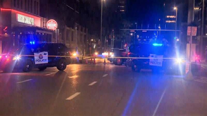 Calgary police investigate after a pedestrian was hit by a vehicle in the intersection of 12 Avenue and 5 Street Southwest on Friday, Sept. 13, 2019.
