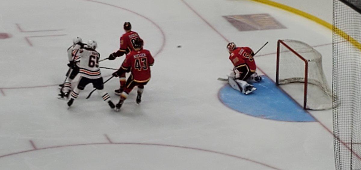 The Calgary Flames rookies beat the Edmonton Oilers rookies 1-0 Saturday night in Red Deer.
