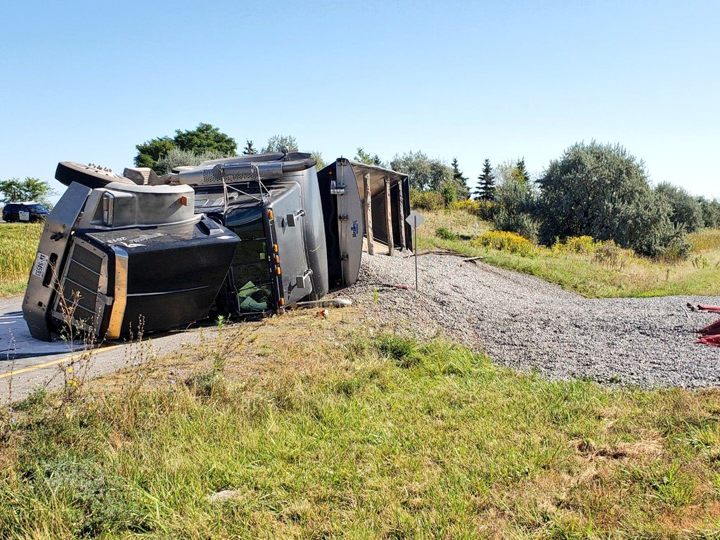 The on-ramp to the Toronto-bound QEW from Ontario Street in Beamsville is closed following a truck rollover.