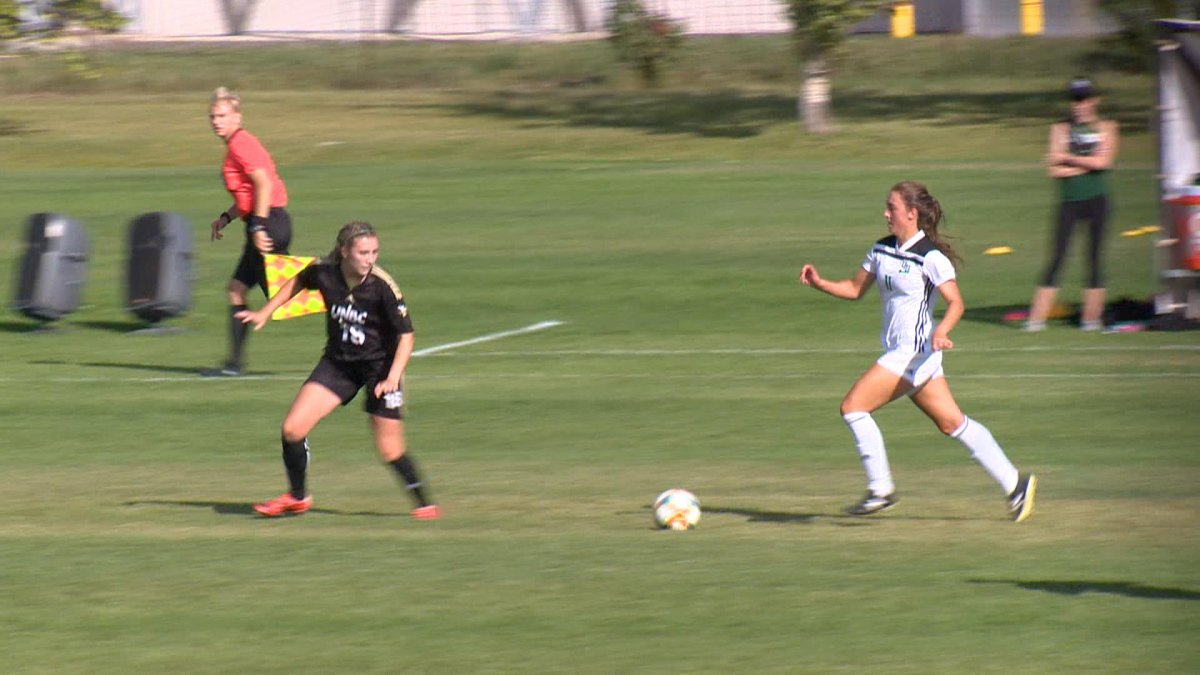 Fourth-year forward Maya Gabruch (right) has found the back of the net five times so far this season for the Saskatchewan Huskies women's soccer team.