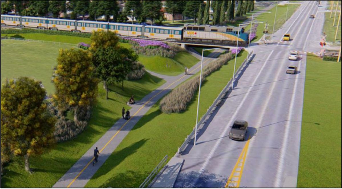 A 3D illustration of the grade-separation of the Jockvale Road multi-use pathway proposed by City of Ottawa staff.