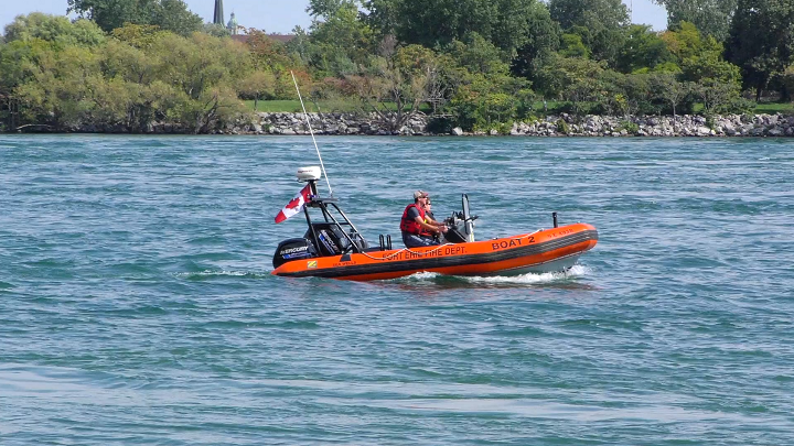 Emergency crews could be seen searching in the Niagara River Saturday.
