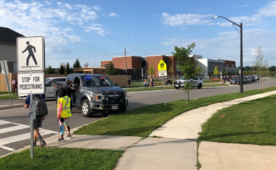 Students at Sir Arthur Currie Public School were encouraged to walk to school Friday morning.