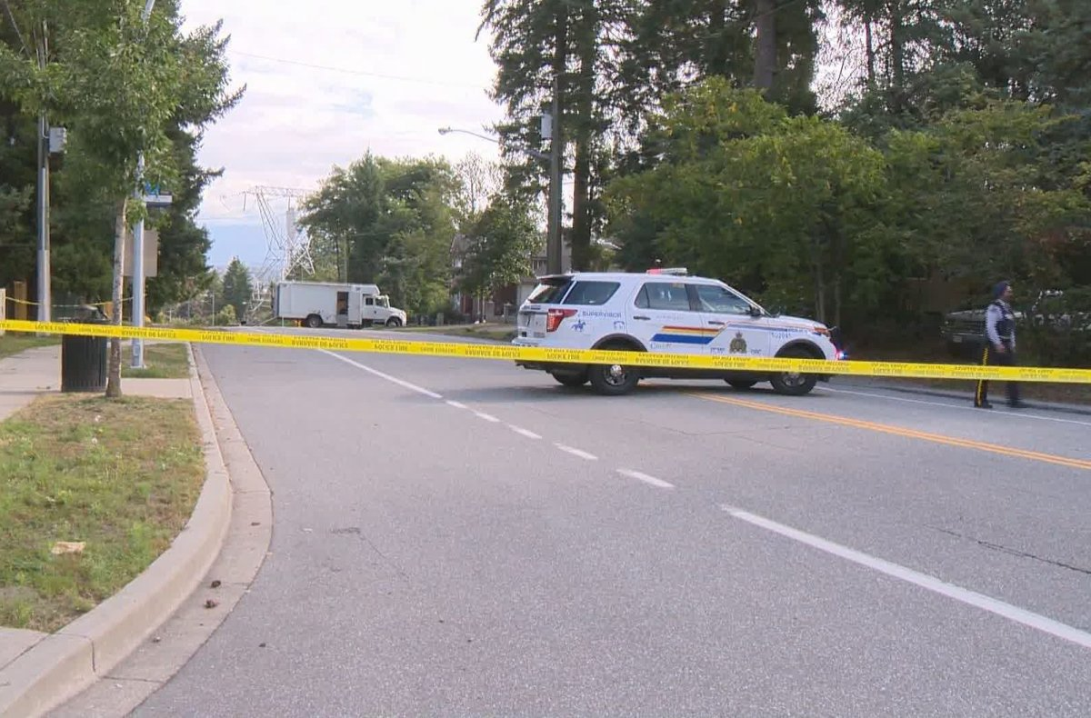 Surrey RCMP and the RCMP Explosives Disposal Unit on scene in a Surrey neighbourhood where a possible improvised explosive device was found early Sunday, Sept. 1, 2019.
