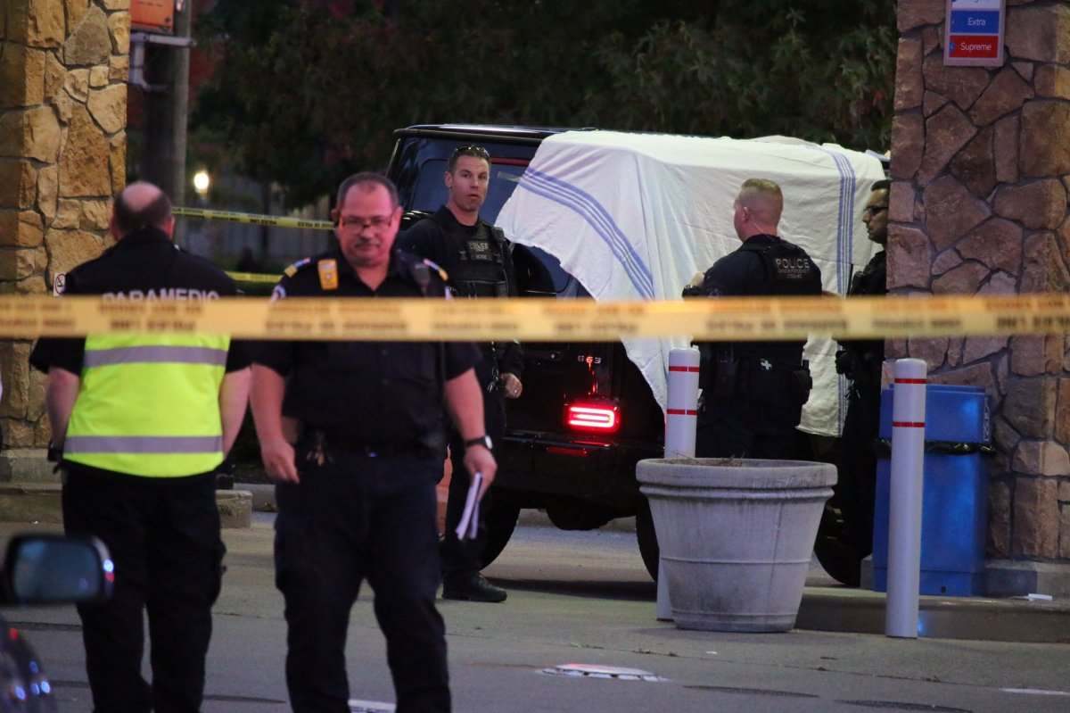 Police at the scene of a shooting on Fraser Highway on Sept. 28, 2019.