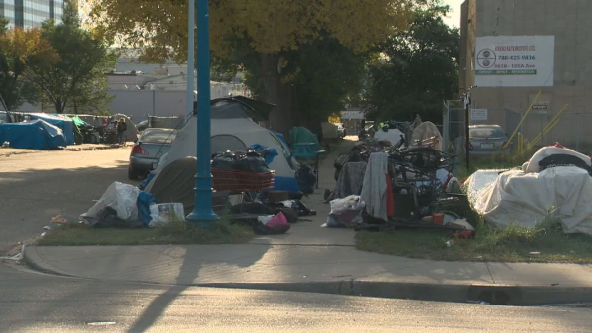 A homeless camp along 105A Avenue between 96 and 97 Street, near the Bissell Centre in central Edmonton on Thursday, September 19, 2019.