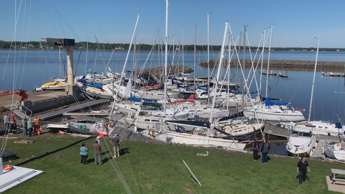 The view from above at the Shediac Bay Yacht Club before crews and club members started removing docks and boats from the water Monday.