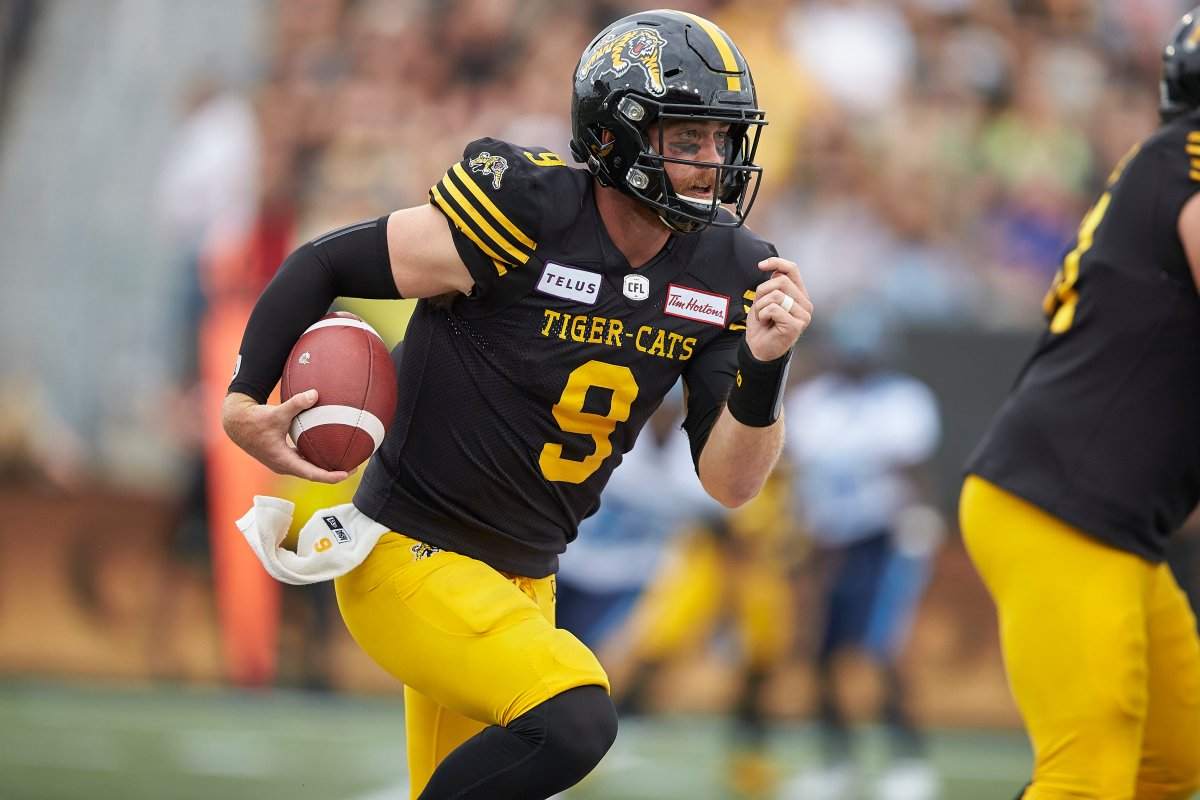 Hamilton quarterback Dane Evans leads the Tiger-Cats into Edmonton Friday night for a date with the Eskimos.