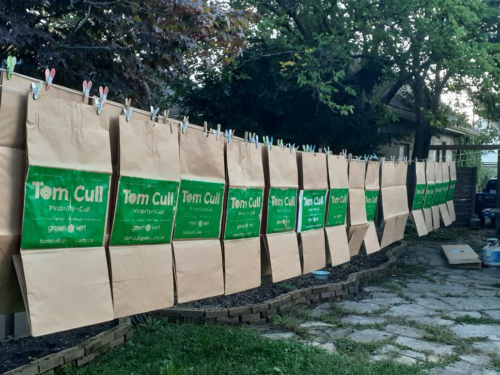 The yard-waste bag signs that London-Fanshawe Green party candidate Tom Cull plans to use during his campaign.