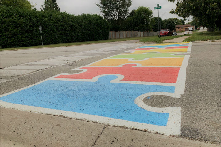 The painted crosswalks, which are meant to promote safety on the roads, are located near school zones in four different areas in the town.