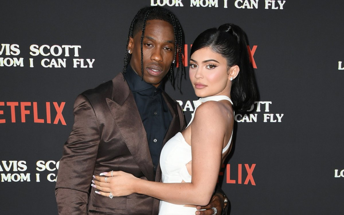 Travis Scott and Kylie Jenner attend the Premiere Of Netflix's 'Travis Scott: Look Mom I Can Fly' at Barker Hangar on August 27, 2019 in Santa Monica, California.