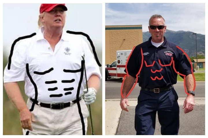 U.S. President Donald Trump, left, is shown in a popular meme alongside a member of the fire department in Kaysville, Utah.